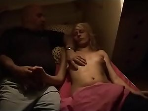 Dirty father gropes and fucks her daughter in her bedroom