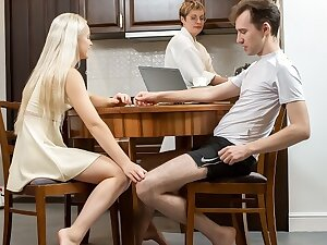 SIS.PORN. Cutie gets in mood for sex during dinner