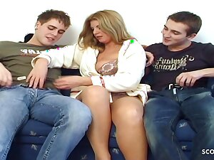 STEPSON increased by his Friend Seduce MOM be fitting of Defloration, 3Some